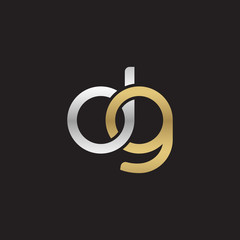 Initial lowercase letter dg, linked overlapping circle chain shape logo, silver gold colors on black background