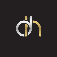 Initial lowercase letter dh, linked overlapping circle chain shape logo, silver gold colors on black background