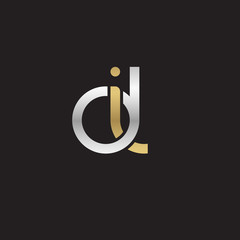 Initial lowercase letter di, linked overlapping circle chain shape logo, silver gold colors on black background