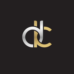 Initial lowercase letter dk, linked overlapping circle chain shape logo, silver gold colors on black background