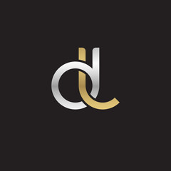 Initial lowercase letter dl, linked overlapping circle chain shape logo, silver gold colors on black background