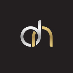 Initial lowercase letter dn, linked overlapping circle chain shape logo, silver gold colors on black background