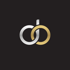 Initial lowercase letter do, linked overlapping circle chain shape logo, silver gold colors on black background