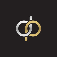 Initial lowercase letter dp, linked overlapping circle chain shape logo, silver gold colors on black background