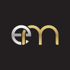 Initial lowercase letter em, linked overlapping circle chain shape logo, silver gold colors on black background