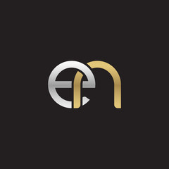 Initial lowercase letter en, linked overlapping circle chain shape logo, silver gold colors on black background