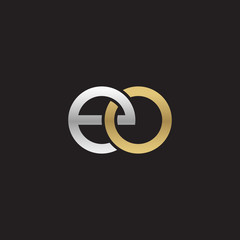 Initial lowercase letter eo, linked overlapping circle chain shape logo, silver gold colors on black background