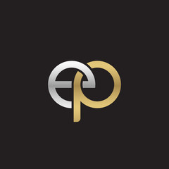 Initial lowercase letter ep, linked overlapping circle chain shape logo, silver gold colors on black background