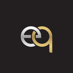 Initial lowercase letter eq, linked overlapping circle chain shape logo, silver gold colors on black background