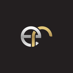 Initial lowercase letter er, linked overlapping circle chain shape logo, silver gold colors on black background