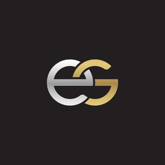 Initial lowercase letter es, linked overlapping circle chain shape logo, silver gold colors on black background