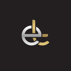 Initial lowercase letter et, linked overlapping circle chain shape logo, silver gold colors on black background