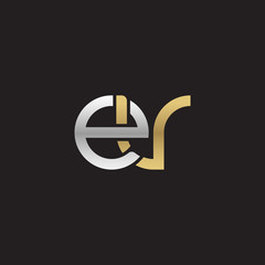 Initial lowercase letter ev, linked overlapping circle chain shape logo, silver gold colors on black background