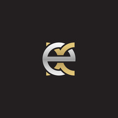 Initial lowercase letter ex, linked overlapping circle chain shape logo, silver gold colors on black background