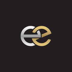 Initial lowercase letter ez, linked overlapping circle chain shape logo, silver gold colors on black background