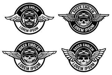 Racer emblems. Set of winged emblems with skulls. Design elements for biker club, racer community logo, label, sign. Vector illustration