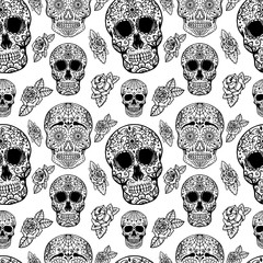 Seamless pattern with sugar skulls isolated on white background. Vector illustration