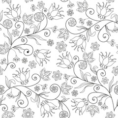 Seamless flower texture on white background
