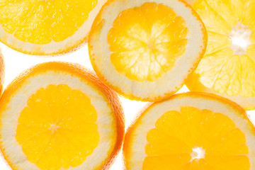 slices of orange background, view in backlight