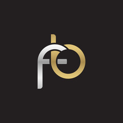 Initial lowercase letter fb, linked overlapping circle chain shape logo, silver gold colors on black background