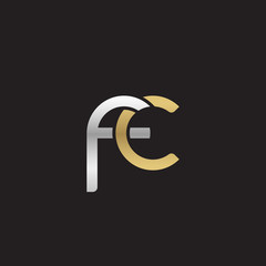 Initial lowercase letter fc, linked overlapping circle chain shape logo, silver gold colors on black background