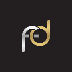 Initial lowercase letter fd, linked overlapping circle chain shape logo, silver gold colors on black background