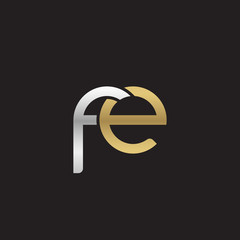 Initial lowercase letter fe, linked overlapping circle chain shape logo, silver gold colors on black background