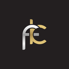 Initial lowercase letter fk, linked overlapping circle chain shape logo, silver gold colors on black background