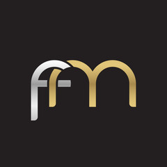 Initial lowercase letter fm, linked overlapping circle chain shape logo, silver gold colors on black background