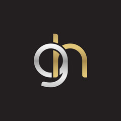 Initial lowercase letter gh, linked overlapping circle chain shape logo, silver gold colors on black background