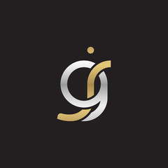 Initial lowercase letter gj, linked overlapping circle chain shape logo, silver gold colors on black background