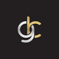 Initial lowercase letter gk, linked overlapping circle chain shape logo, silver gold colors on black background