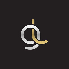 Initial lowercase letter gl, linked overlapping circle chain shape logo, silver gold colors on black background
