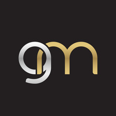 Initial lowercase letter gm, linked overlapping circle chain shape logo, silver gold colors on black background