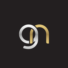 Initial lowercase letter gn, linked overlapping circle chain shape logo, silver gold colors on black background