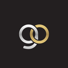 Initial lowercase letter go, linked overlapping circle chain shape logo, silver gold colors on black background