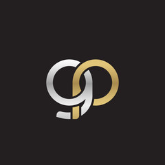 Initial lowercase letter gp, linked overlapping circle chain shape logo, silver gold colors on black background