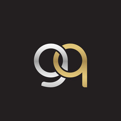 Initial lowercase letter gq, linked overlapping circle chain shape logo, silver gold colors on black background