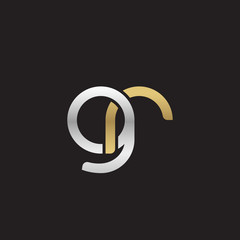 Initial lowercase letter gr, linked overlapping circle chain shape logo, silver gold colors on black background