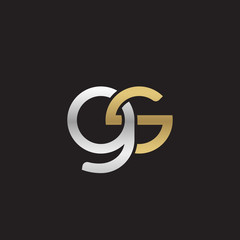 Initial lowercase letter gs, linked overlapping circle chain shape logo, silver gold colors on black background