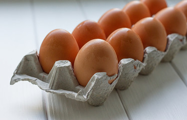Eggs in the paper tray package