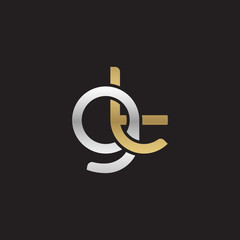 Initial lowercase letter gt, linked overlapping circle chain shape logo, silver gold colors on black background
