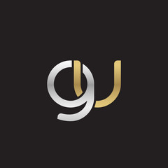 Initial lowercase letter gu, linked overlapping circle chain shape logo, silver gold colors on black background