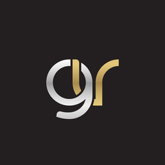 Initial lowercase letter gv, linked overlapping circle chain shape logo, silver gold colors on black background
