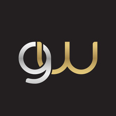 Initial lowercase letter gw, linked overlapping circle chain shape logo, silver gold colors on black background