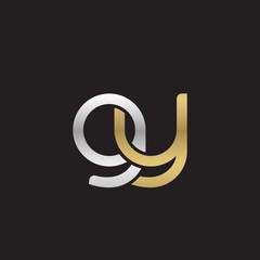 Initial lowercase letter gy, linked overlapping circle chain shape logo, silver gold colors on black background