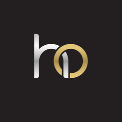 Initial lowercase letter ho, linked overlapping circle chain shape logo, silver gold colors on black background