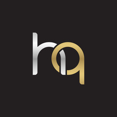 Initial lowercase letter hq, linked overlapping circle chain shape logo, silver gold colors on black background