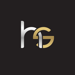 Initial lowercase letter hs, linked overlapping circle chain shape logo, silver gold colors on black background