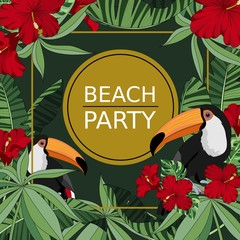 Colorful summer poster with palm trees and tropical leaves, Toucan, flowers. Vector illustration.